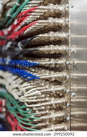 BNC video connectors board - stock photo