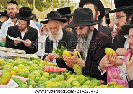 BNEI- BRAK, ISRAEL - SEPTEMBER 17, 2013: Counter with Citron. Traditional market before the holiday of Sukkot. Religious Jews in black hats and skullcaps carefully selected ritual fruits   - stock photo
