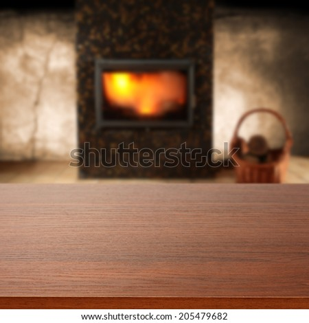board and fireplace
