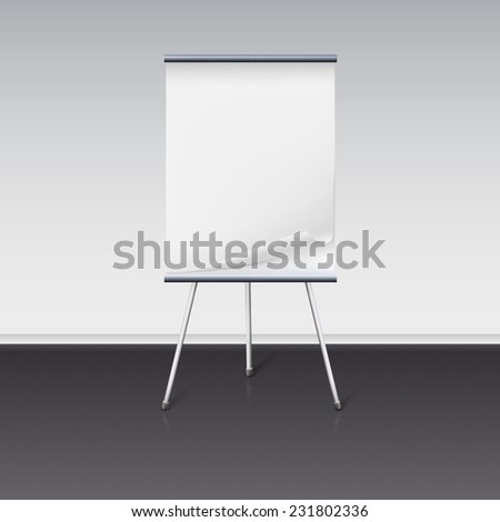 Board for presentations with a clean sheet of paper stand about wall - stock photo