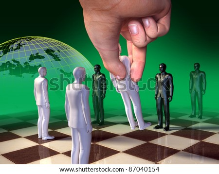 Board game where regular chess pieces are substituted by businessmen. Digital illustration. - stock photo
