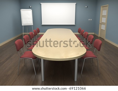 Board room with empty screen and flipchart. 3D render. - stock photo