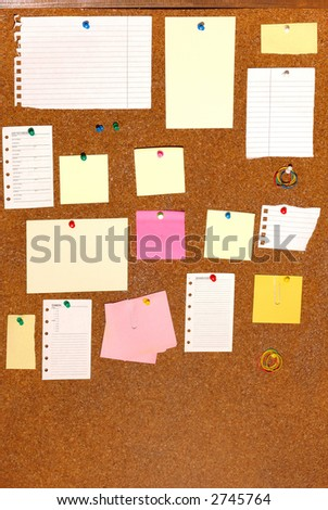 board with blank papers, cards , pins and post-it. - stock photo
