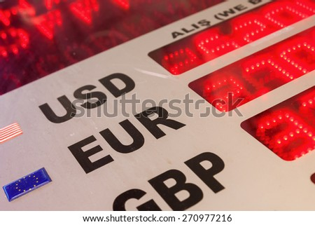 board with convertible currencies - stock photo