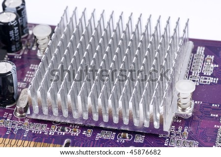 Board with heatsink - stock photo