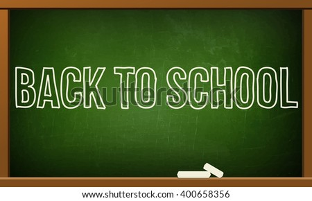 board with the words Welcome back to school, green school board with a chalk on it. School board with chalk drawing on it and a wooden frame - stock photo