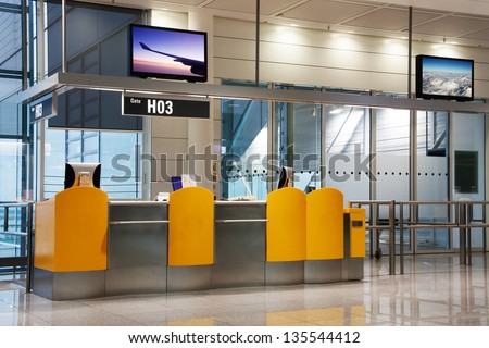 Boarding Gate at an airport (see also duo-tone ID 89790271) - stock photo