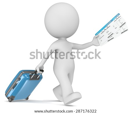 Boarding Pass. The dude 3D character holding suitcase and airline tickets. - stock photo