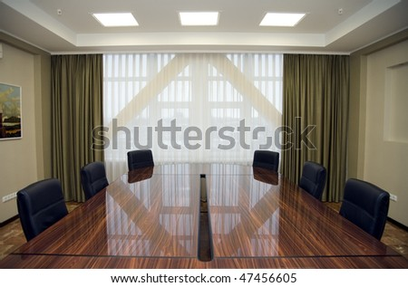 Boardroom meeting area, big window - stock photo