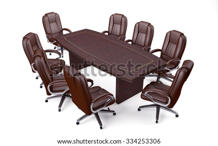 Boardroom Office Conference Table and Chairs isolated on white - stock photo
