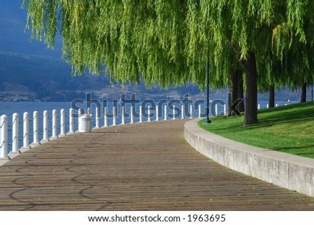 Boardwalk along a Lake - stock photo