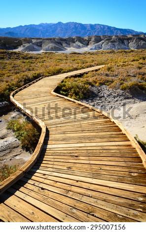 Boardwalk at Death Valley - stock photo