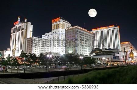 Boardwalk at night in Atlantic City New Jersey - stock photo
