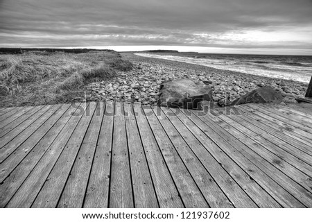 Boardwalk in black and white - stock photo