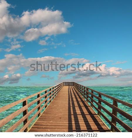 boardwalk into paradise tropic ocean - stock photo