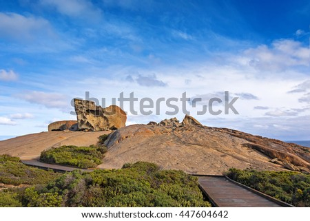 Boardwalk leading to the Remarkable Rocks, natural rock formation at Flinders Chase National Park. One of Kangaroo Island's iconic landmarks, South Australia - stock photo