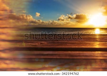 Boardwalk on beach - stock photo