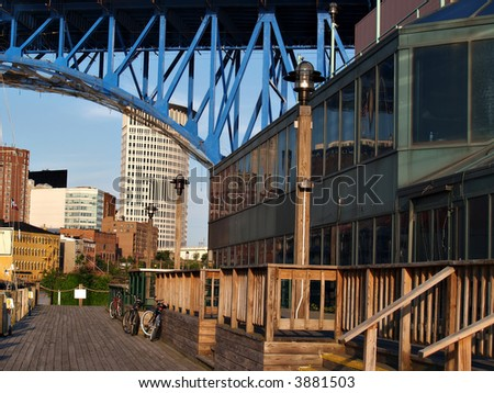 Boardwalk on the Cuyahoga River in downtown Cleveland, Ohio - stock photo