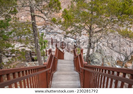 Boardwalk through Johnson's Shut-ins State Park in Missouri. - stock photo