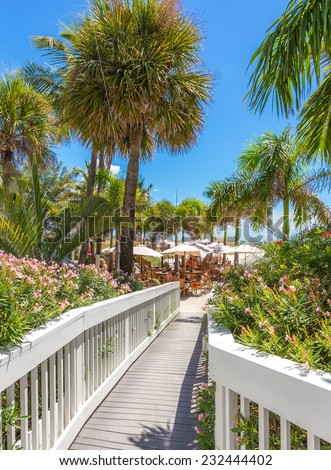 Boardwalk to a beach in St. Pete, Florida, USA - stock photo