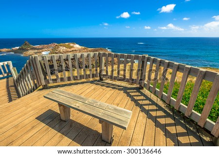 Boardwalks overlook in Phillip Island Nature Park, The Nobbies, Grant Point, western tip of Phillip Island, Victoria, Australia. - stock photo