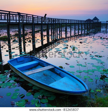 Boat and wooden bridge - stock photo