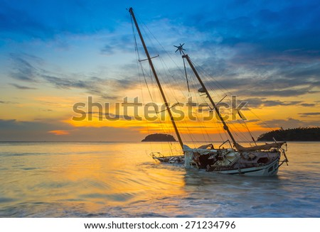 Boat and Yacht abandoned with a beautiful sunset in the east of the country.