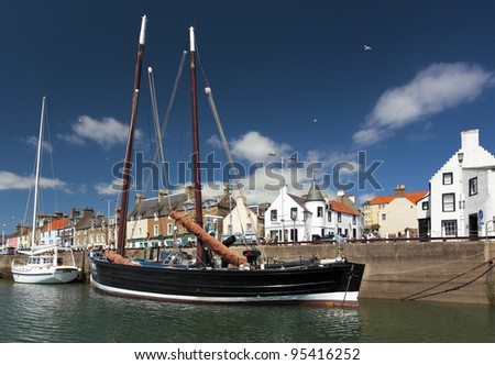 Boat at Anstruther harbour on the east coast of Scotland - stock photo