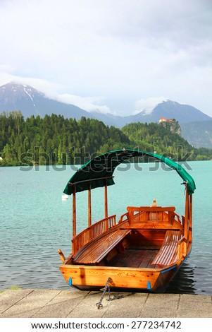 Boat at Bled lake, Julian Alps, Slovenia - stock photo