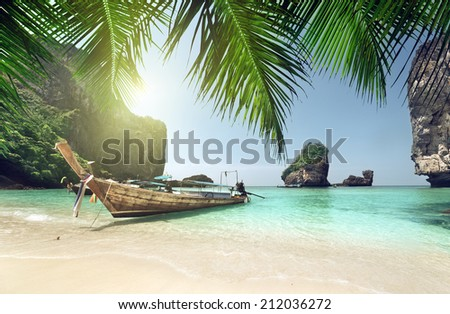 boat at Phi Phi island, Thailand - stock photo