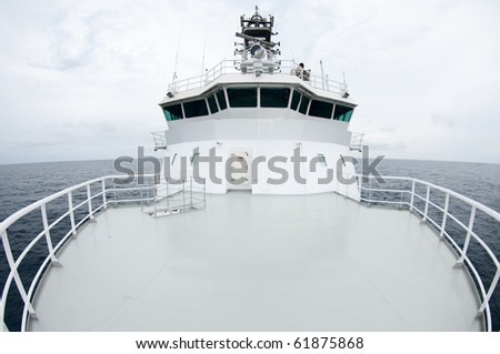Boat bridge, view from the bow, with fisheye lens - stock photo