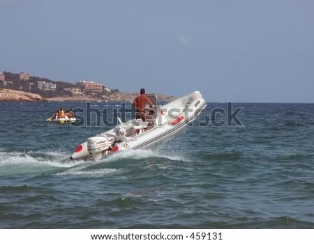 Boat bumping - stock photo