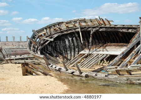 """Boat cemetery in """"Le Magouer"""" (Brittany - France) - stock photo"""
