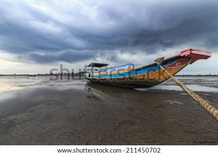 Boat clouds - stock photo