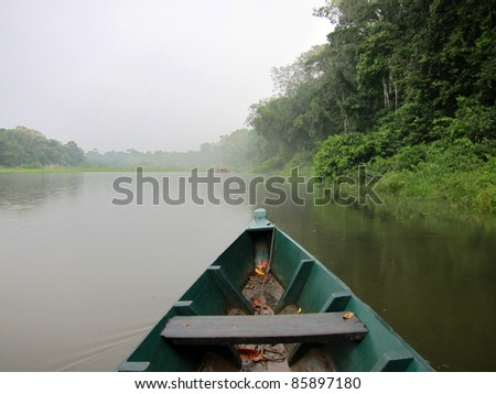 Boat cruise in the Amazon rainforest, Peru - stock photo