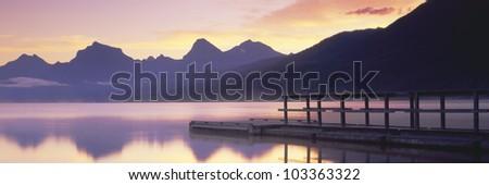 Boat dock at Lake McDonald, Glacier National Park, Montana - stock photo
