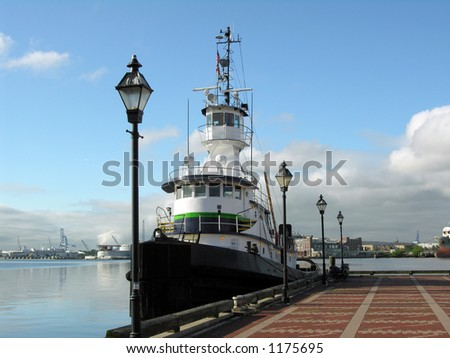 Boat docked at Baltimore, Maryland - stock photo