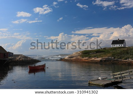 Boat Docked at Peggy Cove at Early Morning, Nova Scotia, Canada