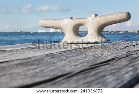 Boat docking point at the end of a pier - stock photo