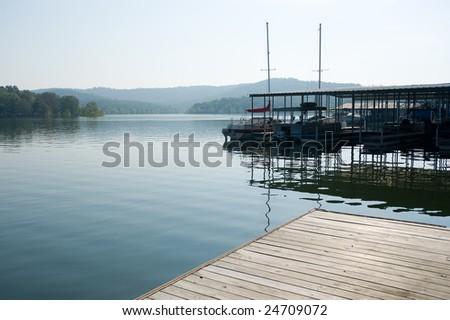 Boat docks at table Rock lake, Kimberling City, Missouri. - stock photo