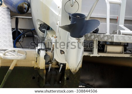 boat engine - stock photo