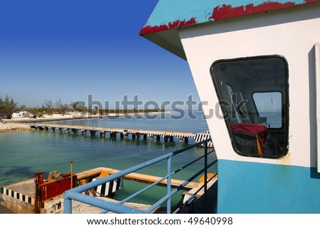 boat ferry control cabin with caribbean sea on background - stock photo
