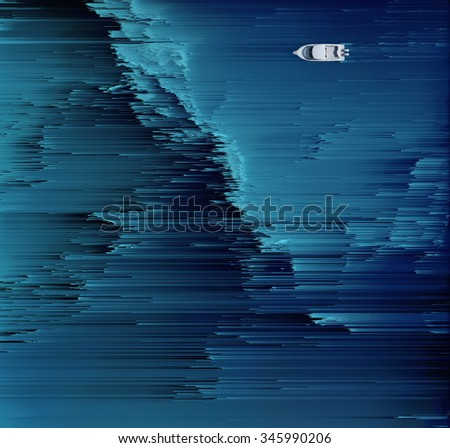 Boat floats on the digital ocean - stock photo