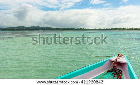 Boat front view of No mans land and nylon pool in Tobago Caribbean Sea
