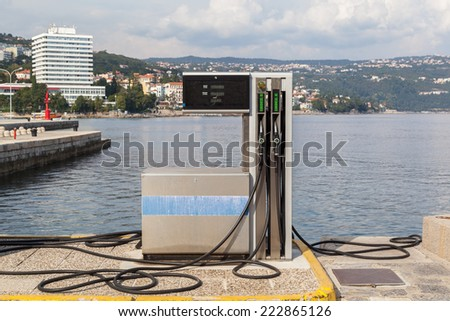 Boat gas station - stock photo