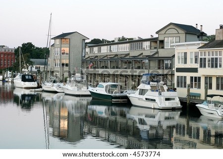 boat harbor in Mystic, CT - stock photo