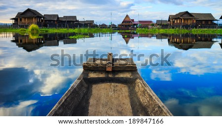 Boat in inle lake, Shan state, Myanmar - stock photo