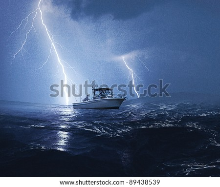 Boat in lightning storm - stock photo