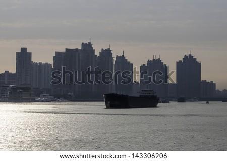 boat in shanghai china - stock photo