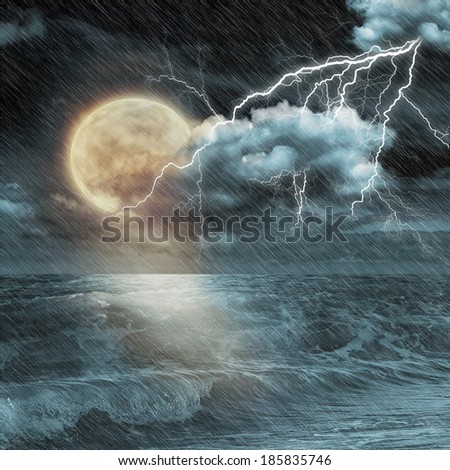 Boat in storm  evening on ocean and the moon - stock photo